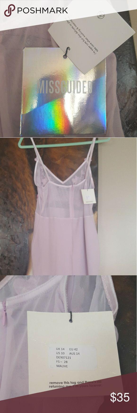 NWT Lilac Mesh Missguided Dress Spaghetti strap midi dress from Missguided. Beautiful lilac size 10 US/14 UK. Never worn Missguided Dresses Midi