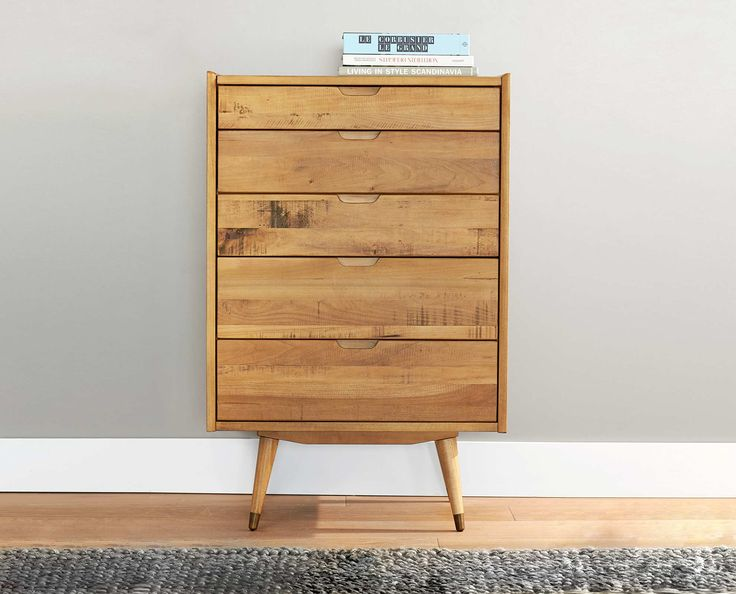 Scandinavian Designs   Crafted From Solid Poplar With A Natural Stain, The  Bolig High Chest Features A 5 Drawers. This Nordic Look Offers Clean Lines  And ...