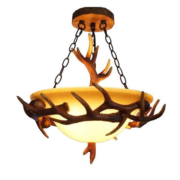 LNC Vintage Style Resin Deer Horn Antler  Chandeliers,3 Lights(Bulbs Not Included)
