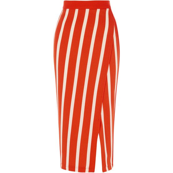 STRIPE JERSEY SKIRT ($65) ❤ liked on Polyvore featuring skirts, striped jersey, panel skirt, knee length pencil skirt, horizontal striped skirt and red pencil skirt