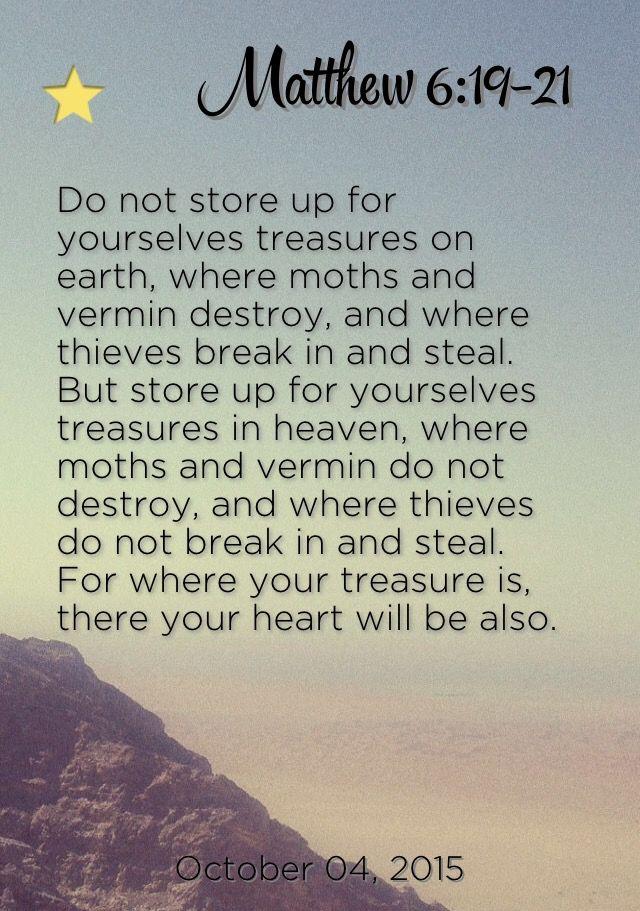 Matthew 6:19-21                                                                                                                                                                                 More