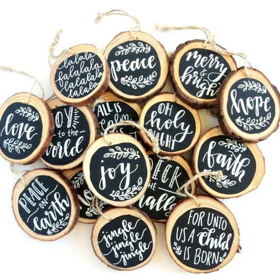Fa La La La La - Wood Slice Ornament - Christmas Ornament - Handpainted - Handlettered - Natural Wood Bark - Black and White  falalalalalalala  Celebrate the Christmas season and adorn your tree with a handlettered and painted, wood slice ornament. Attach to Christmas packages, share in an ornament exchange or decorate your own tree!  Each ornament measures between 3-4 inches in diameter, featuring a natural hardwood with bark. Wood slices are sourced from fallen trees, with bark still…