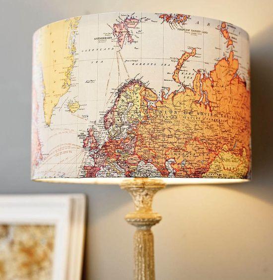Map lampshade- cute! I want a globe lamp like we had when we were kids!