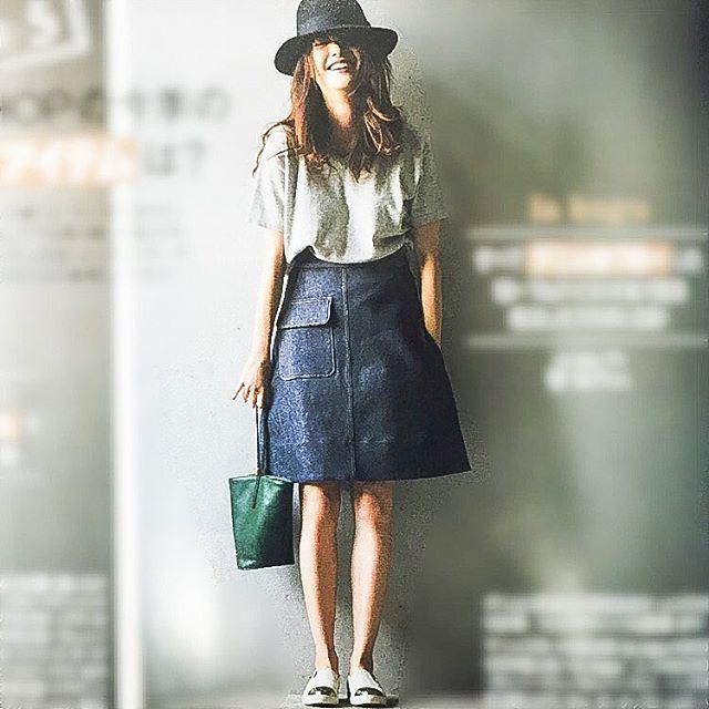 カッチリインディゴデニム。人気の台形スカートおすすめ一覧♡トレンドの着こなしの参考にどうぞ♡