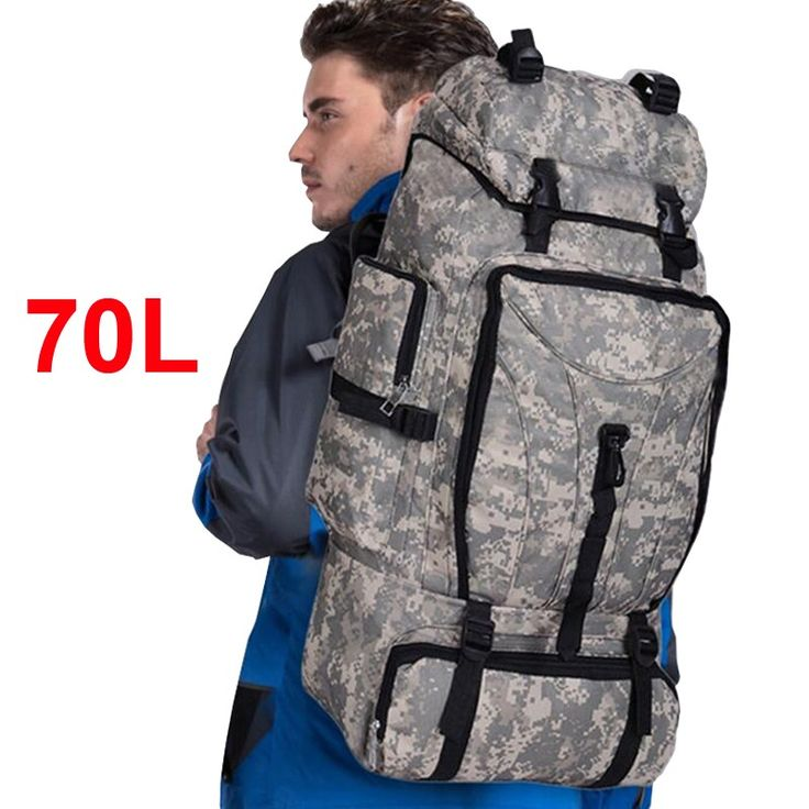 70L men camping hiking waterproof sport climbing bag women army rucksack travel hunting military molle tactical backpack