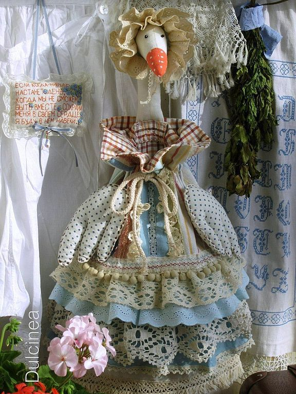 Купить Марта - гусь-пакетница в стиле бохо - голубой, гусь-пакетница, пакетница, бохо