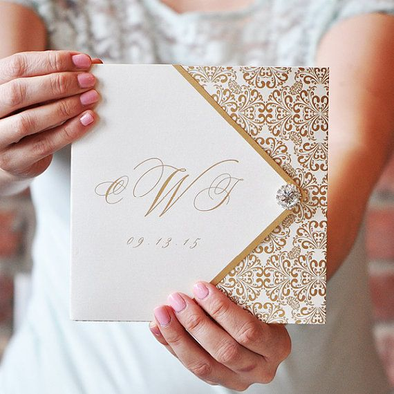 Gold and White Wedding InvitationsMonogram by EngagingPapers