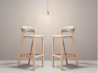 Fabric barstool with footrest OSLO - Missana