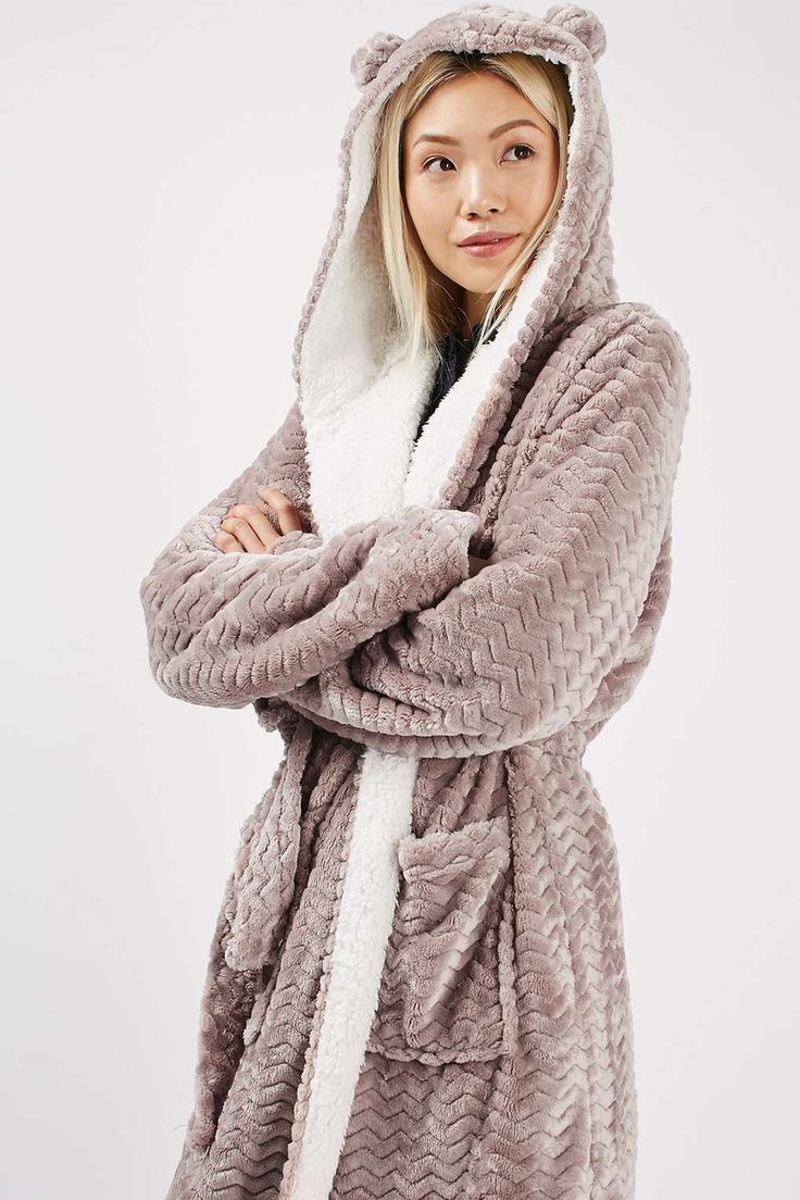 Teddy Bath Robe: love the whimsy of the ears and that the inside looks like a soft cozy material, almost like sheepskin. I really hate minky fabric so please none of that!