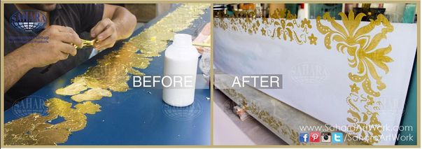 Goldl leaf on silver mirror !  Before and After