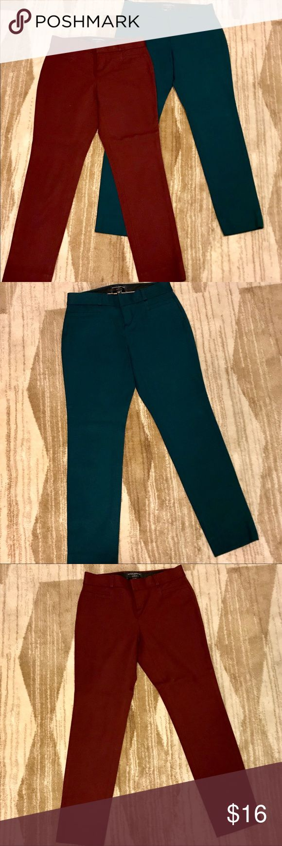 🔺2 PAIRS OF BANANA REPUBLIC PANTS 🔺 2 pairs of Jackson Fit 00 petite burgundy and forest green pants both in EXCELLENT condition!! No Flaws. Zipper fly, hook closure, and these hit right at ankle. Bundle and Save!! Banana Republic Pants Ankle & Cropped