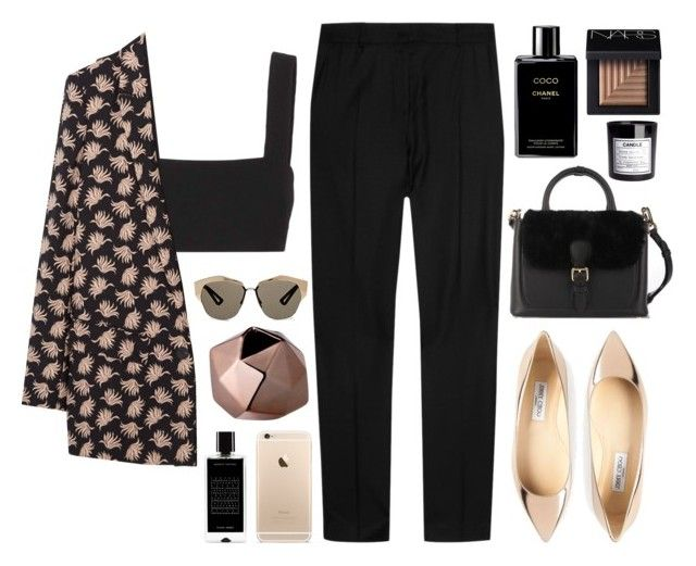 """""""COPPER"""" by mariimontero ❤ liked on Polyvore featuring Valentino, MANGO, J.W. Anderson, Jimmy Choo, Agonist, NARS Cosmetics, Chanel, H&M, Burberry and Christian Dior"""