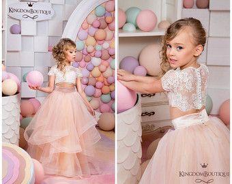 Avorio e fard rosa fiore ragazza vestito - compleanno matrimonio vacanza partito da damigella fiore ragazza avorio e Blush Tulle Pizzo 15-009