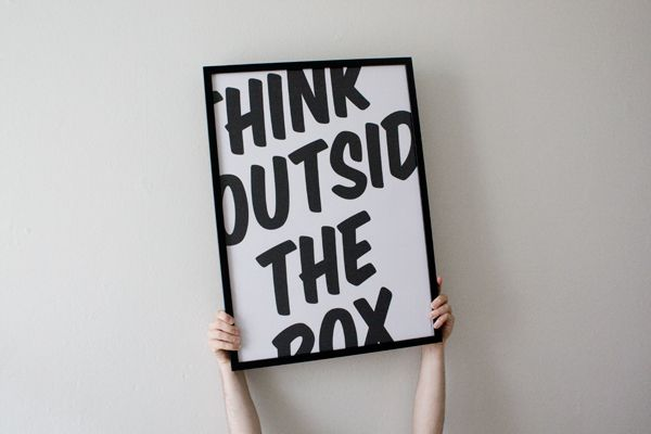 think outside the boxInspiration, Quotes, 15 Typography, Typography Design, Boxes, Posters Design, Graphics Design, Parties Ideas, Living