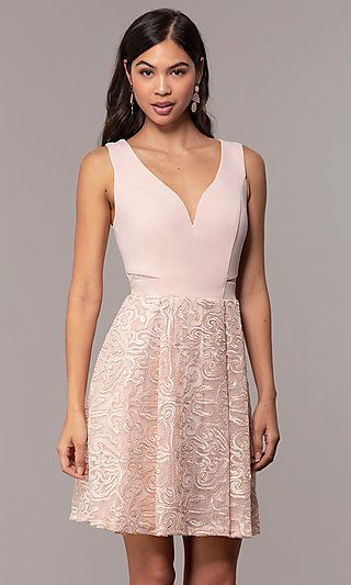 ee20593e3c Graduation Party Short V-Neck Dress by Simply in 2019