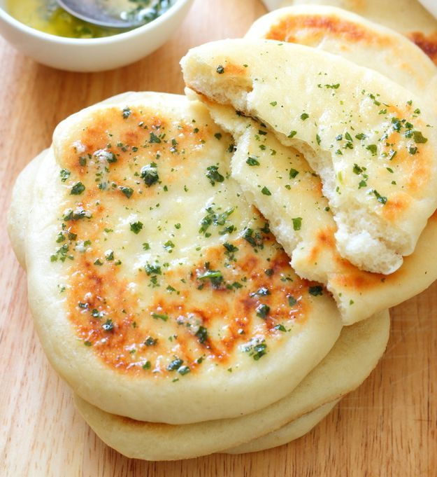 Garlic & Coriander Flatbreads | 12 Extremely Tasty Garlic Bread Recipes by Homemade Recipes at http://homemaderecipes.com/garlic-bread-recipes/