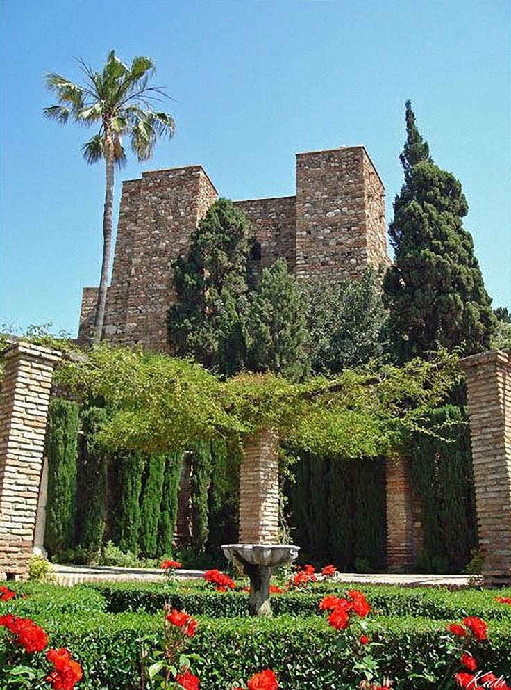 "SPAIN / Medieval - Alcazaba of Malaga, Spain. The Alcazaba is a palatial fortification it was built by the Hammudid dynasty in the early 11th century. This is the best-preserved alcazaba ""meaning ""citadel"" in Spain. Adjacent to the entrance of the Alcazaba are remnants of a Roman theatre dating to the 1st century BC. Ferdinand and Isabella captured Málaga from the Moors after the Siege of Málaga (1487), one of the longest sieges in the Reconquista."