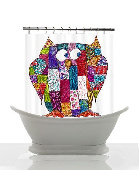 Artistic Shower Curtain Logcabin Owl by ArtfullyFeathered on Etsy, $60.00 #cute #shower #curtain