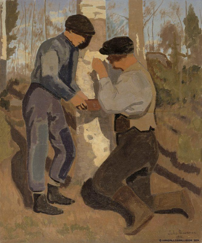 Juho Rissanen (1873-1950) Draining the Sap 1916 - Finland