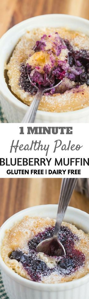 1 Minute Healthy Flourless Healthy Paleo Breakfast Blueberry Muffin (gluten-free, dairy-free)