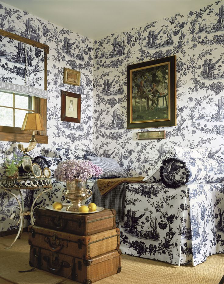 Black White Pheasant Toile Wallpaper And Fabric