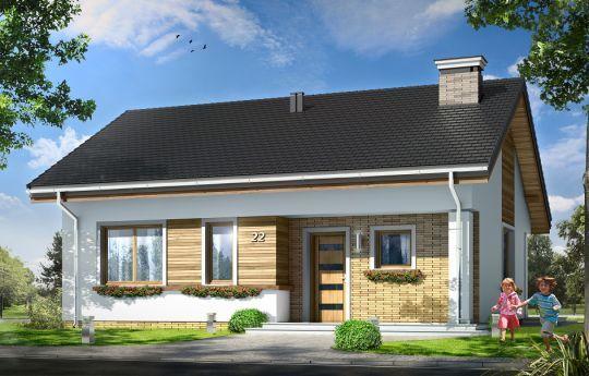 Projekt Bonifacy to niewielki, parterowy domek jednorodzinny, dla 3-4osobowej rodziny. Dom przekryty został dwuspadowym dachem. Nad parterem zaprojektowano nieużytkowy strych, który z łatwością można zaadaptować na poddasze z dodatkowymi pokojami. Dom Bonifacy, dzięki prostej bryle jest łatwy i niedrogi w budowie.