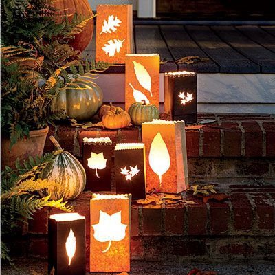 Bag Some Leaves    Cast an inviting glow on your steps using paper bags stenciled with the shapes of fall foliage taken right from your own trees.