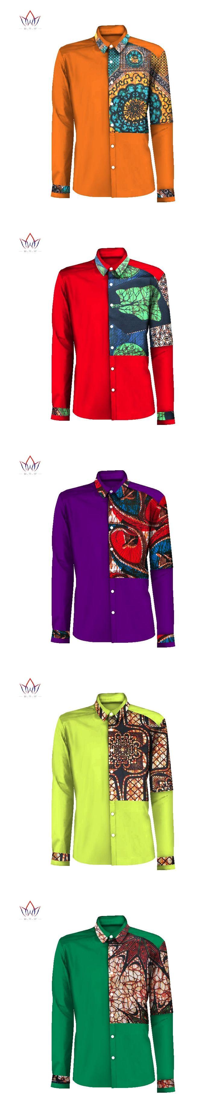 Mens African Clothing Dashiki Men Casual Shirt Men Long Sleeve Slim Fit Dress Shirt Bazin Rich African Men Shirts 6XL BRW WYN296