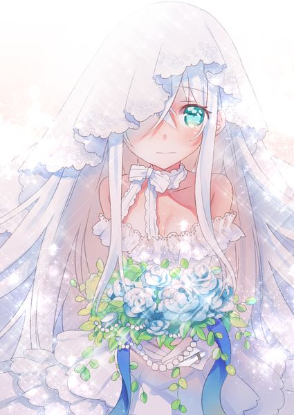 Cute anime girl. .wedding dress. .flowers. ..blushing. .white hair. .green eyes