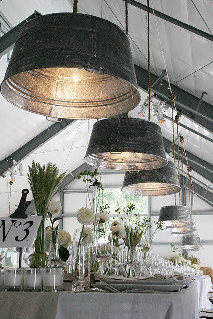 Galvanized bucket lights; all white linens and flowers