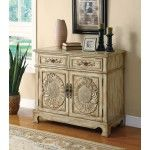 Coaster Furniture - Accent Cabinets Antique Oak Accent Cabinet with Floral Carvings - 950134