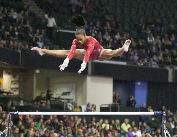 Gabby Douglass.. Going to challenge the hell out of Jordyn Weiber tonight for that 1 guaranteed spot!!! Go Girl!