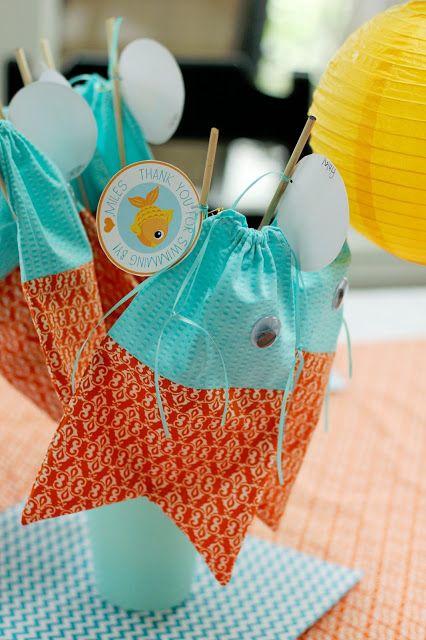 Goldfish Birthday Party: Party Favor Drawstring Fish Bags