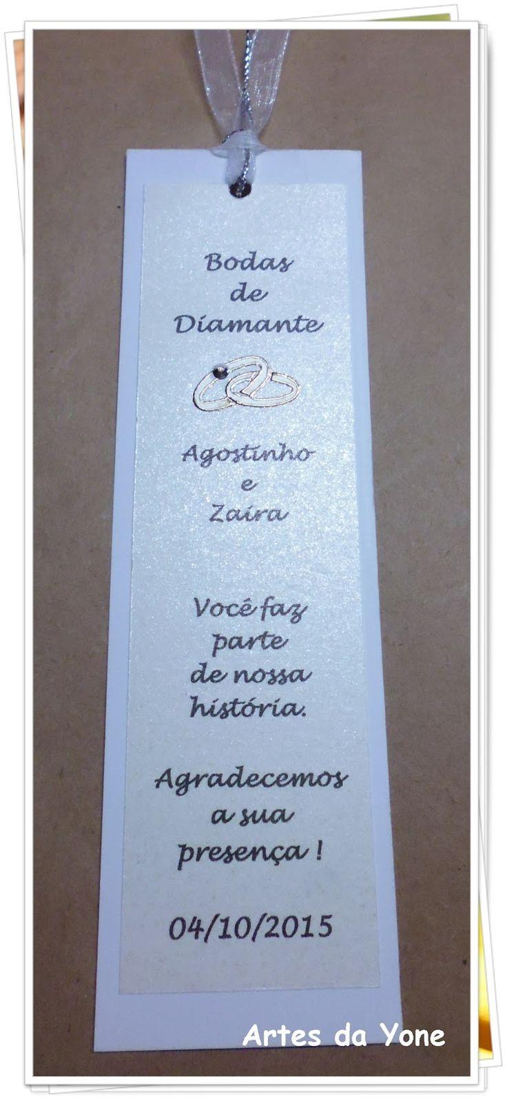 Artes da Yone !: Marcadores Bodas de Diamante !! - Papéis Filipaper Metallics !!