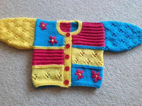 Brightly coloured cardi for baby girl (k)