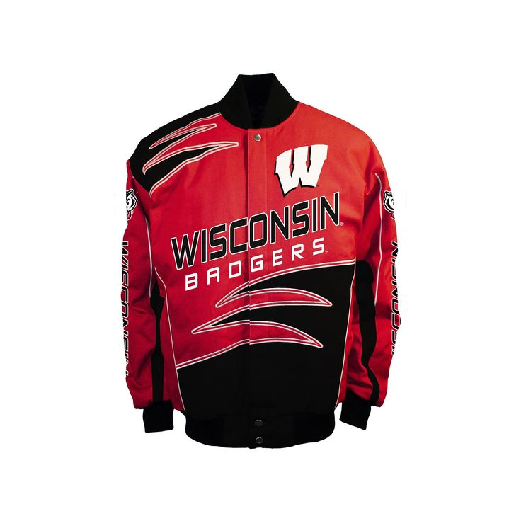 Men's Franchise Club Wisconsin Badgers Shred Twill Jacket, Size: Medium, Red
