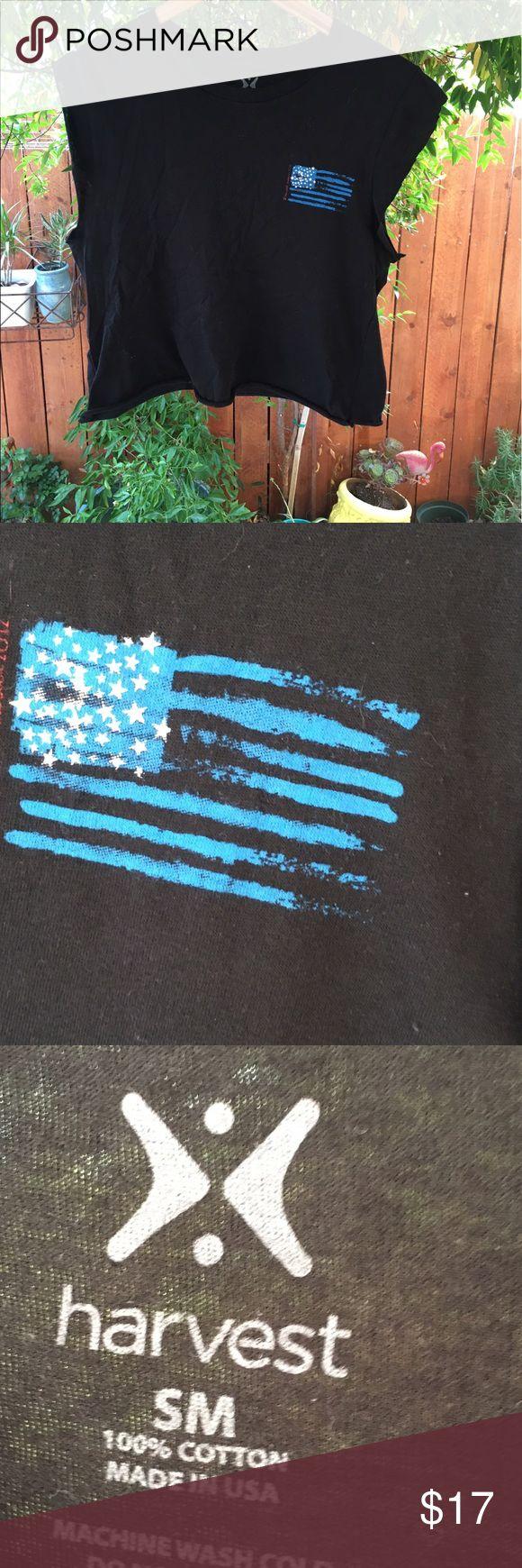 Altered cut cropped T-shirt USA American flag Alter T-shirt fits most women medium perfect PJ top summer wear harvest Tops Crop Tops
