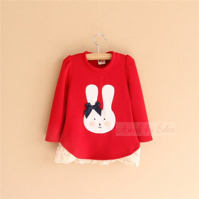 New Cute Girls Red Jumper With Bow Age 2 3 4 5 6 Years