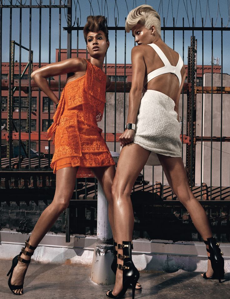 Ruffled Around the Edges - Karlie Kloss and Joan Smalls photographed by Steven Klein