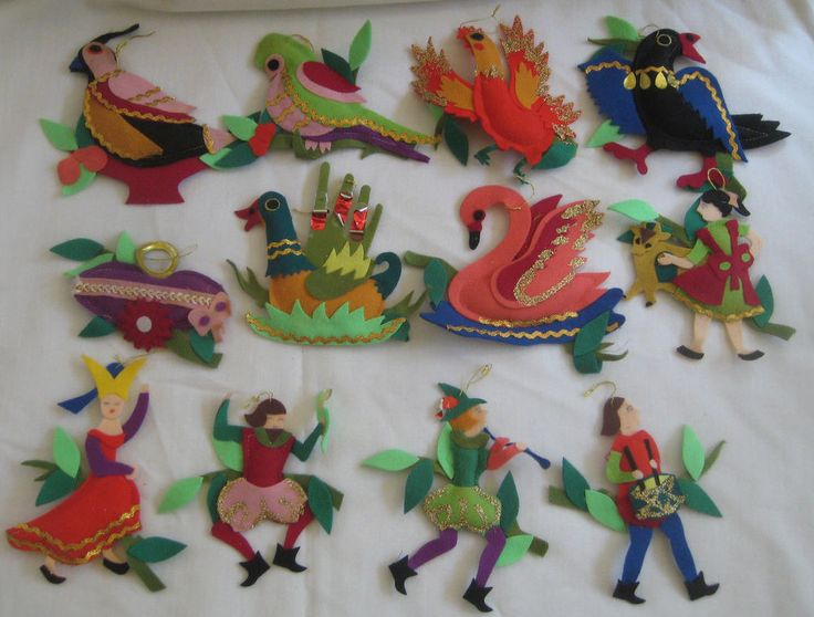 12 Days Of Christmas Vintage Felt Ornaments Japan 1950 S