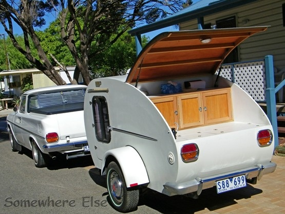 A Teardrop Caravan towed by a 1964 EJ Holden Ute.***Research for possible future project.