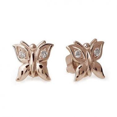 Серьги-гвоздики Бабочки из золота 585 пробы с бриллиантами