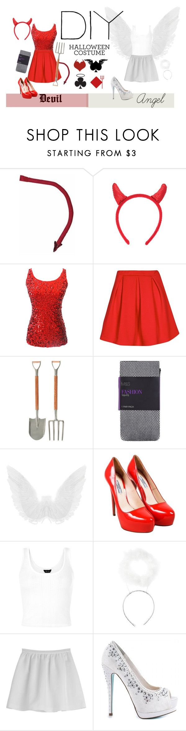 """angel & devil diy costume"" by mia-v1 ❤ liked on Polyvore featuring Vagabond House, Prada, Tara Jarmon, Betsey Johnson, DIY, Halloween, DIYHalloween and diycostume"