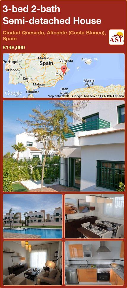 3-bed 2-bath Semi-detached House in Ciudad Quesada, Alicante (Costa Blanca), Spain ►€148,000 #PropertyForSaleInSpain