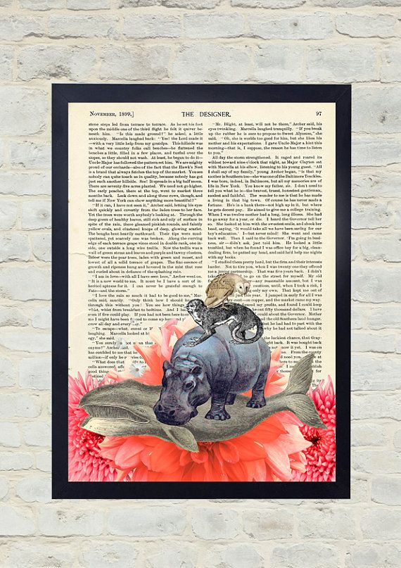 Vintage Dictionary Art Print. Animal pyramid. Original Artwork. Old paper print. Vintage Illustration poster. Home wall Decor. Collage.
