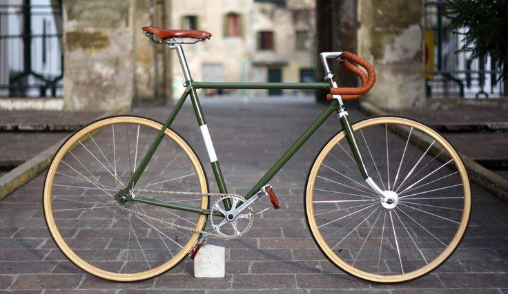 "» Fixed gear bike Vintage ""Olive"""