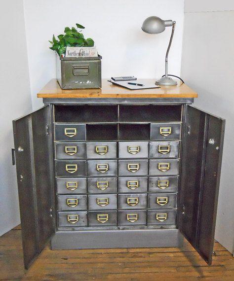 Vintage Metal Organizer Parts Cabinet 22 Drawers