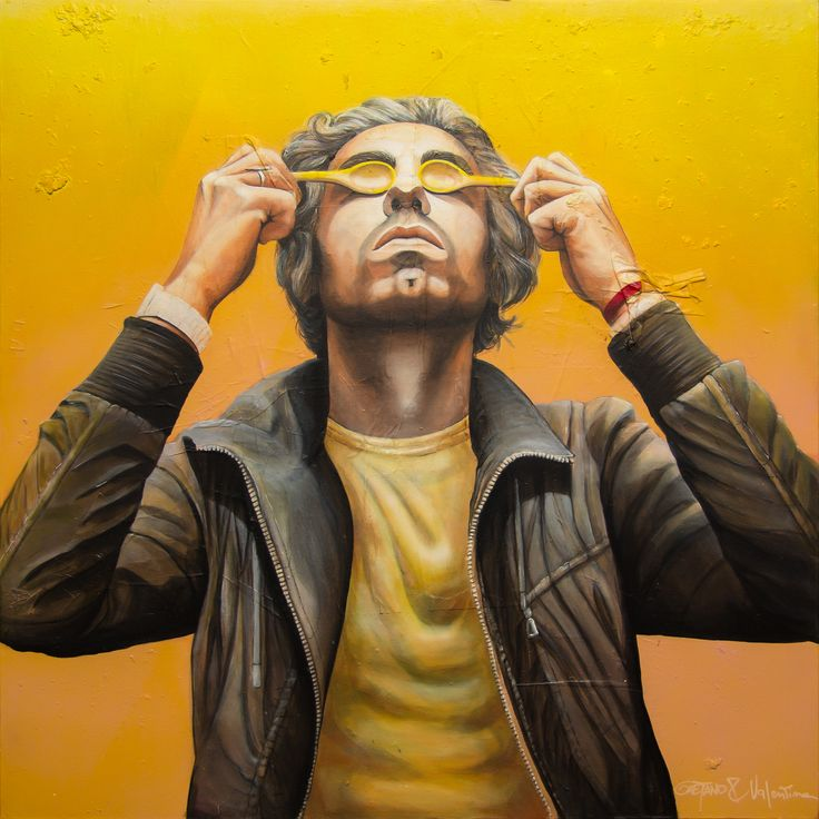 G ©2016, acrylic on paper and canvas 100 x 100 x 3,8 cm - 39.4 x 39.4 x 1.50 in Serie: 30 / Trentesimi  Keywords: portrait, realism, yellow, italy, selfportrait, GaeTano & Valentina, SCENOGRAPH2ART, eyes, abstract, monocoloured, male, man