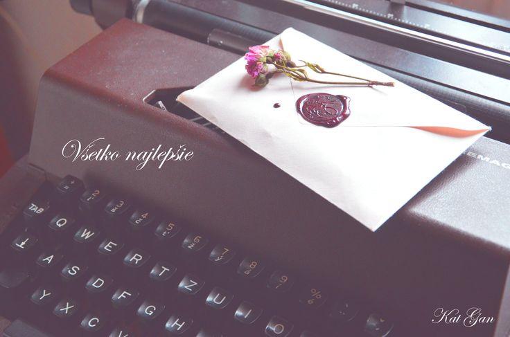 my stamp, letter, typewriter, rose