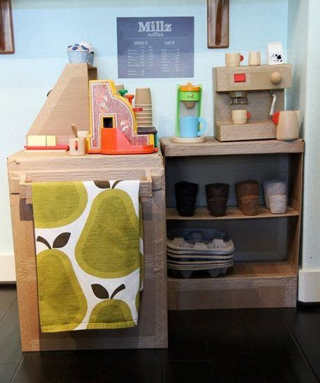 An amazing cardboard cafe for role playing toddlers.